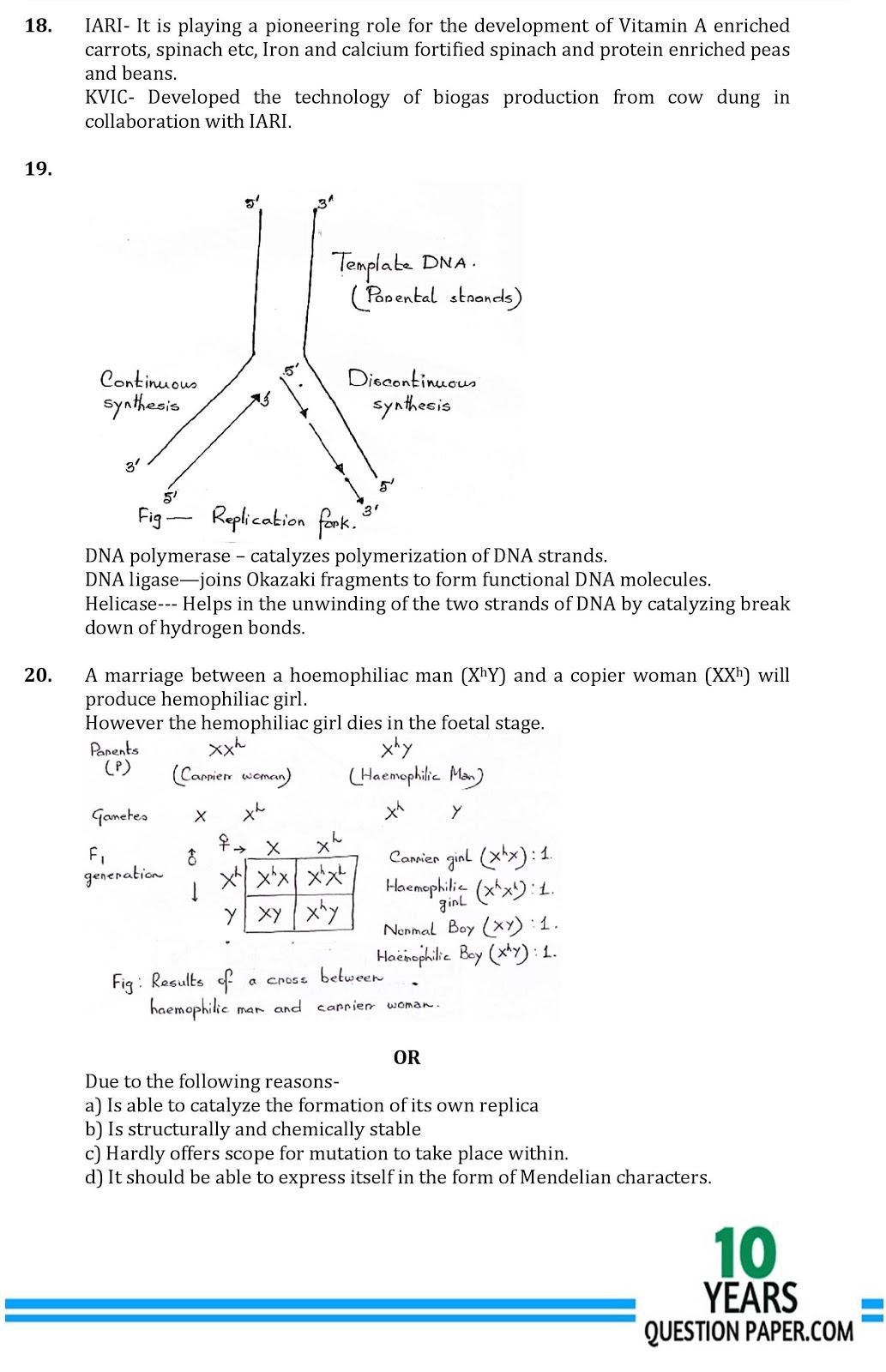 CBSE class 12th Biology answer sample paper