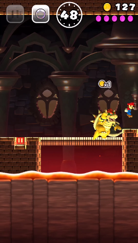 Super Mario Run Bowser level bridge