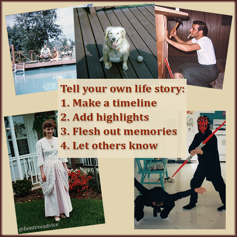 In 4 steps you can return to at any time, you can write your life story for future genealogists.