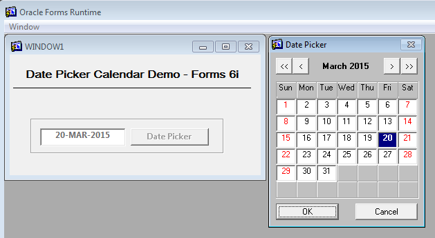 Date Picker Calendar - Oracle Forms 6i