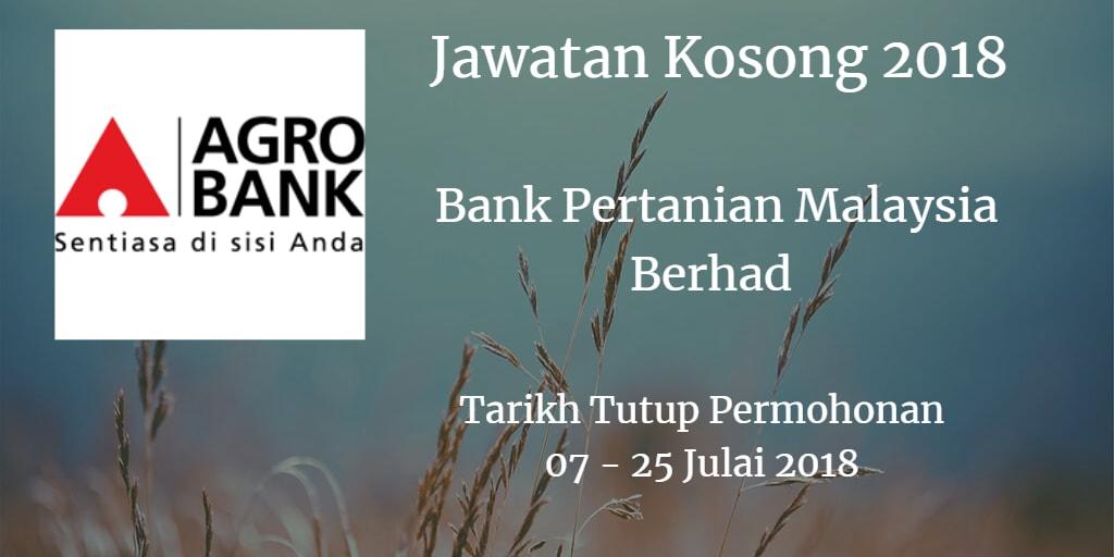 Jawatan Kosong Agrobank 07 - 25 Julai 2018