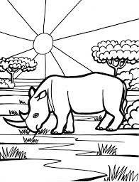 Rhinoceros on Forest Coloring Pages For Print