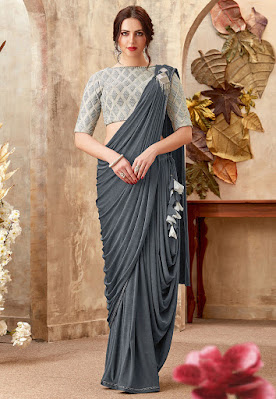 Indian Party Wear Pre-stitched Lycra Cowl Style Saree in Dark Grey