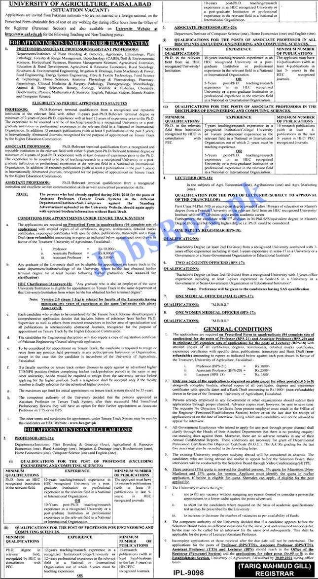 University of Agriculture Faisalabad UAF Latest Jobs 2021 - 100+ Vacancy