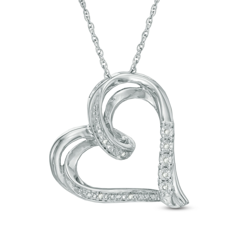 Zales Diamond Accent Tilted Ribbon Heart Pendant In