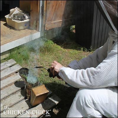 Breenda, lighting the smoker.