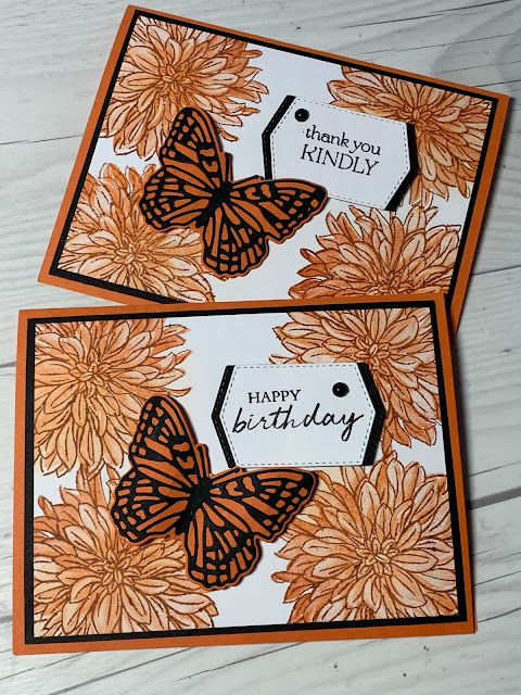 Two handmade floral thank You Cards using Delicate Dahlias Stamp Set from Stampin' Up!
