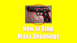 Photo of no-gun image and text with words How to Stop Mass Shootings and caption about eliminating rewards for copycat school shooters of infamy through media coverage