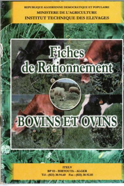 Fiches  de Rationnements Bovins et Ovins - WWW.VETBOOKSTORE.COM