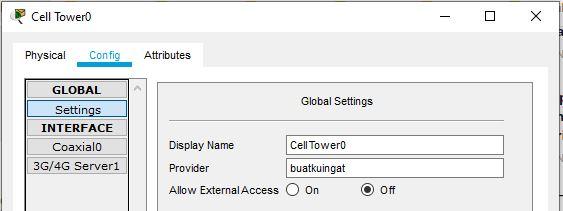 setting nama provider di cell tower
