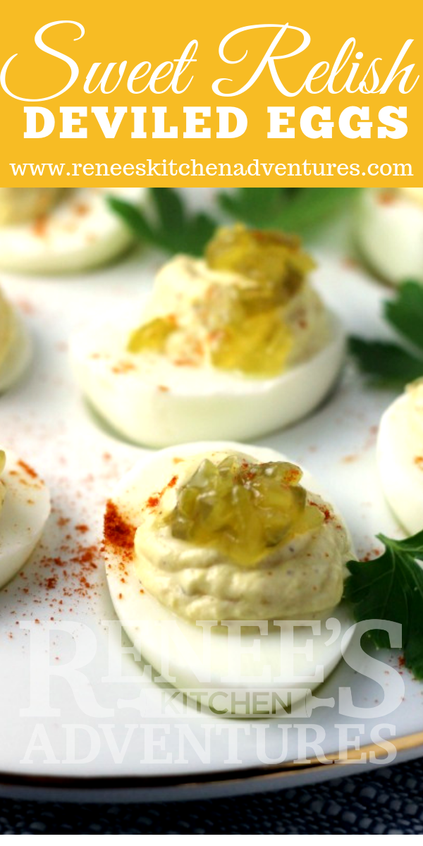 Sweet Relish Deviled Eggs by Renee's Kitchen Adventures pin for Pinterest