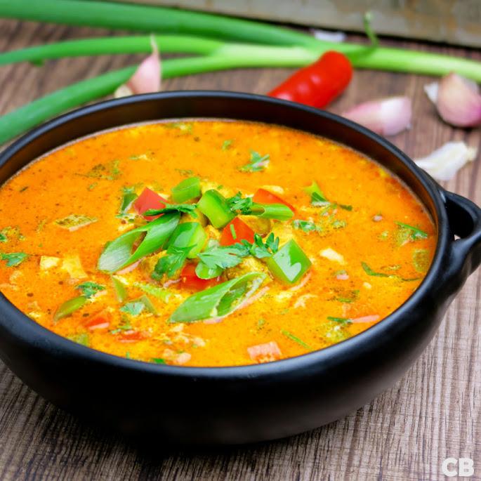 Recept Indiase currysoep met groenten en gemarineerde kip