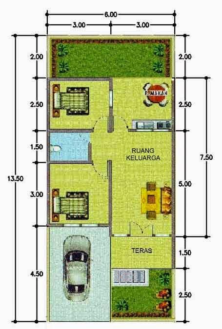 5 Contoh Denah Rumah Minimalis Type 45