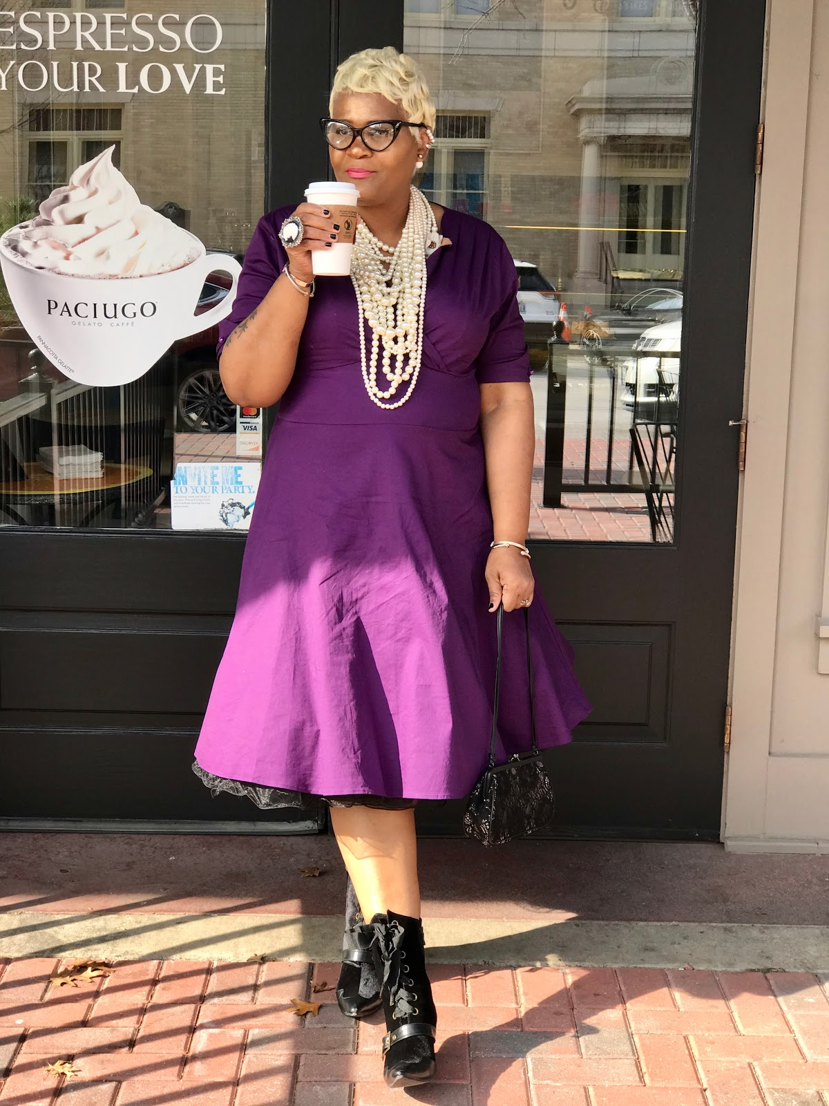 Judge My Style Wedding Day Outfit: Purple Dress, Boots, Pearls, Hand Bag : Wedding Outfit