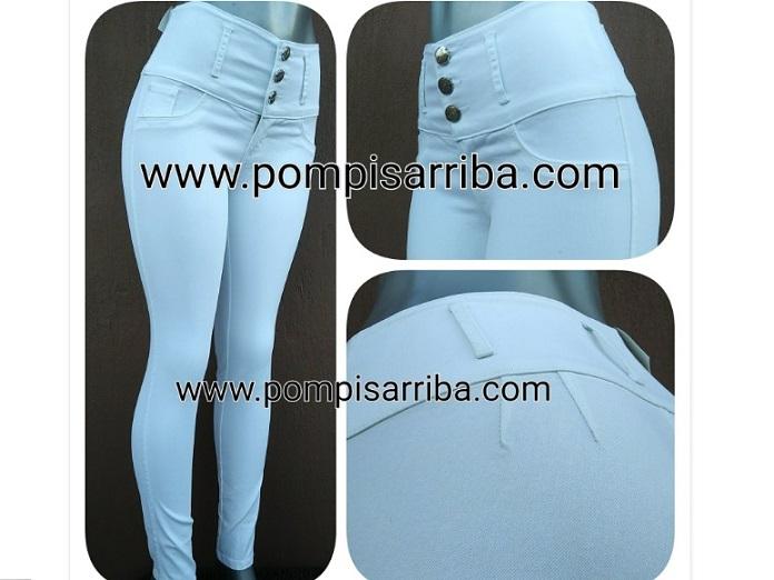 Modelo # 01 Pantalón Mezclilla Stretch Color Blanco