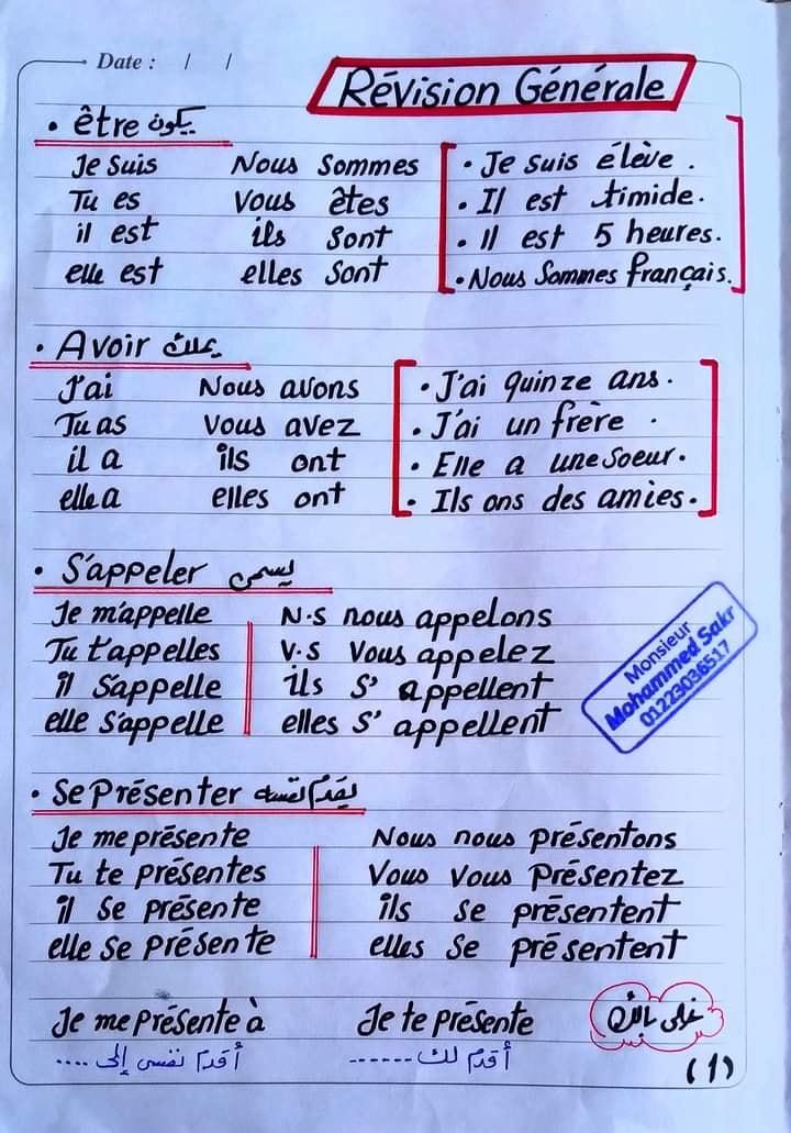 المراجعة النهائية في اللغة الفرنسية للصف الأول الثانوي مسيو محمد رمضان صقر 1