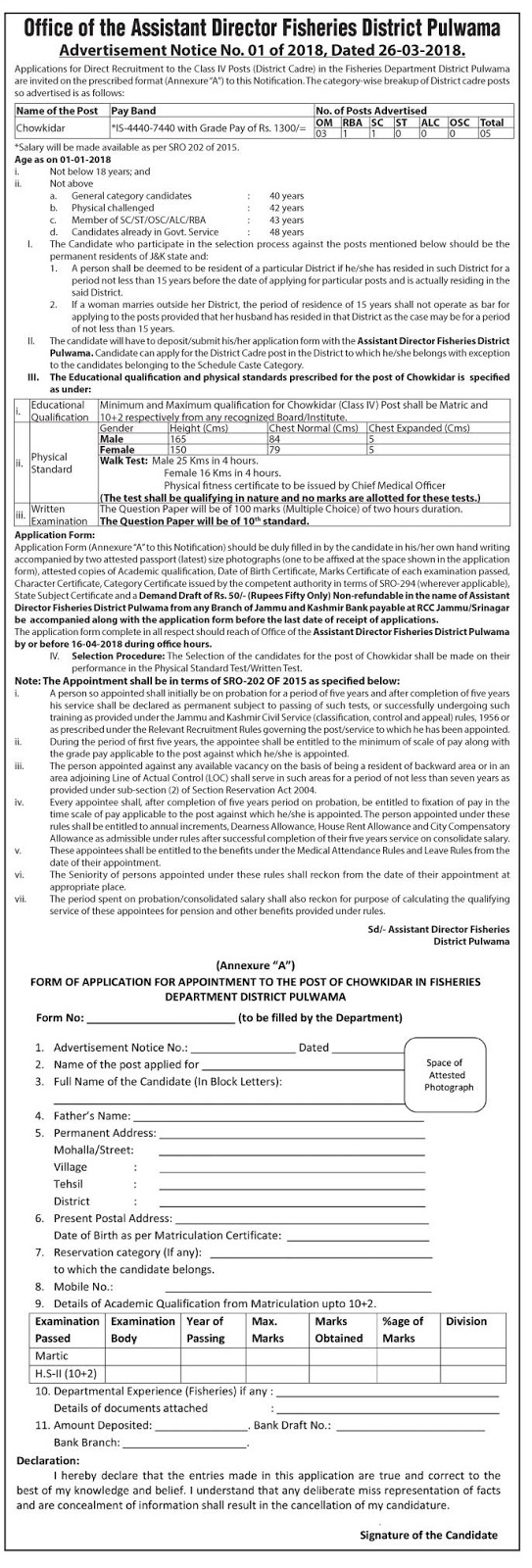 Fisheries Department Recruitment 2018 for Class IV Posts in Pulwama