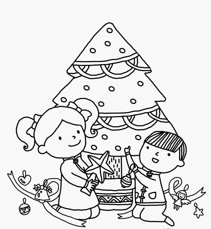 Christmas tree coloring pages for kids ~ colours drawing wallpaper: Beautiful Christmas Tree And ...