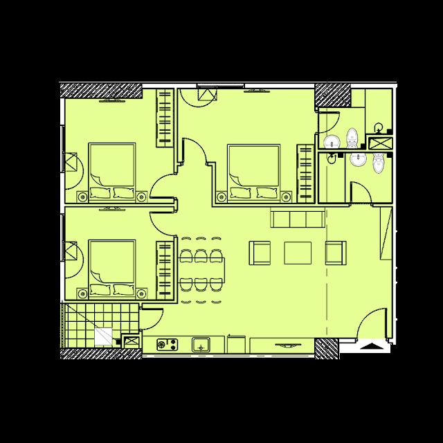 Thiết kế căn hộ B3 tòa Park1,2 chung cư EuroWindow River Park