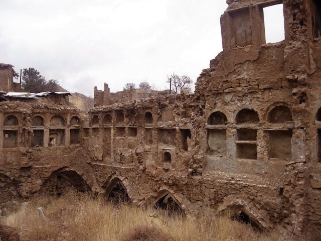 the ruins of the old houses in Ghalat village in Iran.