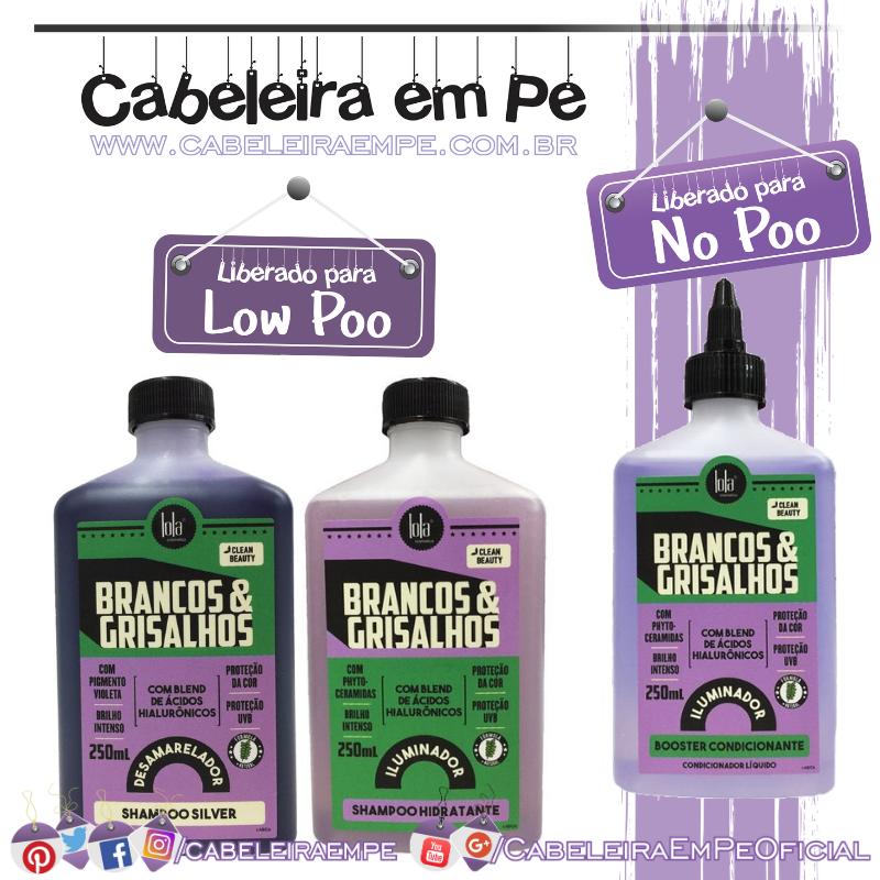 Shampoo Desamarelador e Shampoo Hidratantes (Liberados para Low Poo) e Condicionador Líquido (Liberado para No Poo) Brancos e Grisalhos - Lola