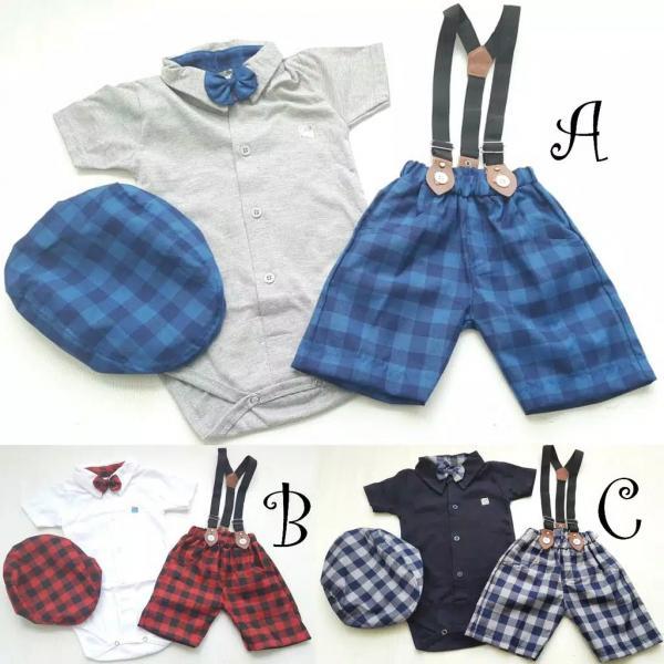 Setetalan Baju Anak Cowok Suspender Branded FA-184