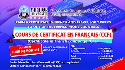 Anchor University Certificate in French Language Admission Form 2019