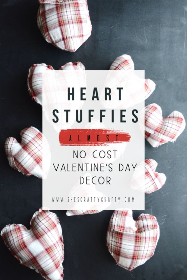 Heart Stuffies |  almost no cost Valentine's Day Decorations  |  see how to make these stuffed hearts from a repurposed shirt  |  She's Crafty