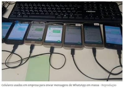 Celulares programados para disparos pelo WhatsApp