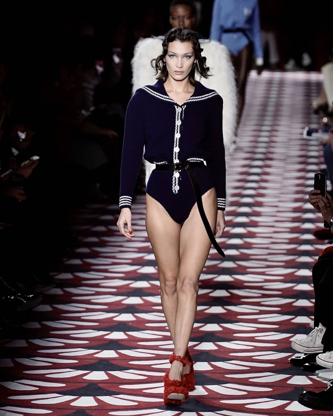 Bella Hadid walking for Miu Miu fw20