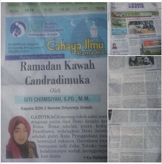 Tulisan Bu Siti Chomsiyah, S.Pd. MM, Kepala SDN 2 Bambe Driyorejo Gresik