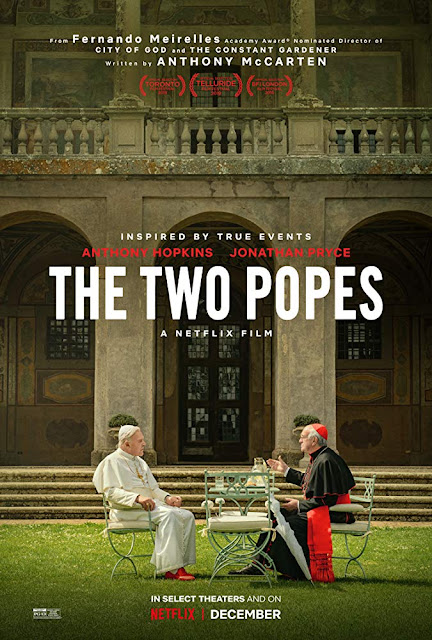 "Netflix presents the movie poster for ""The Two Popes"" (2019), starring Jonathan Pryce, Anthony Hopkins, and Juan Minujín"