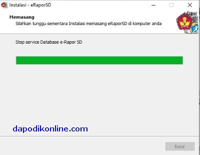 Tunggu sampai instalasi e-Rapor SD selesai.