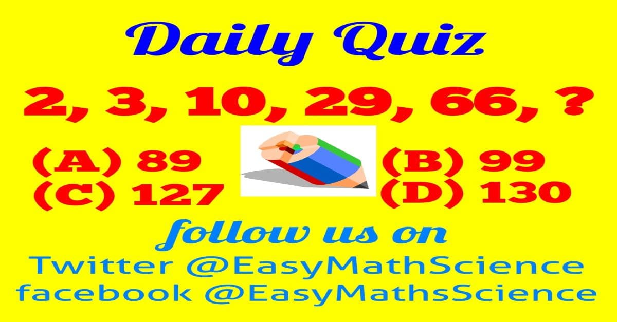 Maths Daily Quiz Question 3