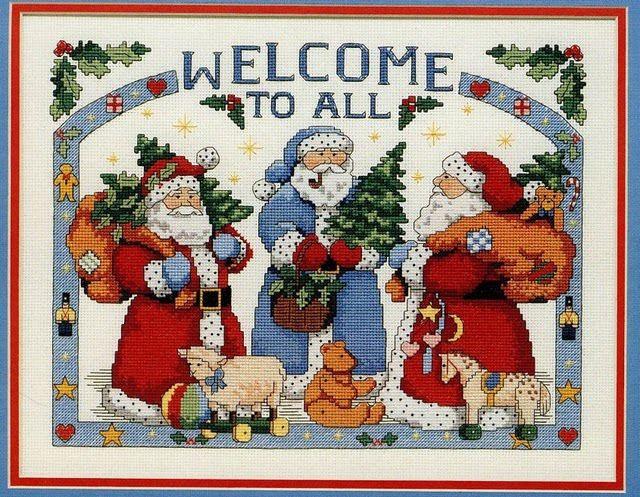 Babbo Natale Punto Croce Schemi Gratis.Cross Stich Merry Chrismas Pattern Babbo Natale A Punto Croce