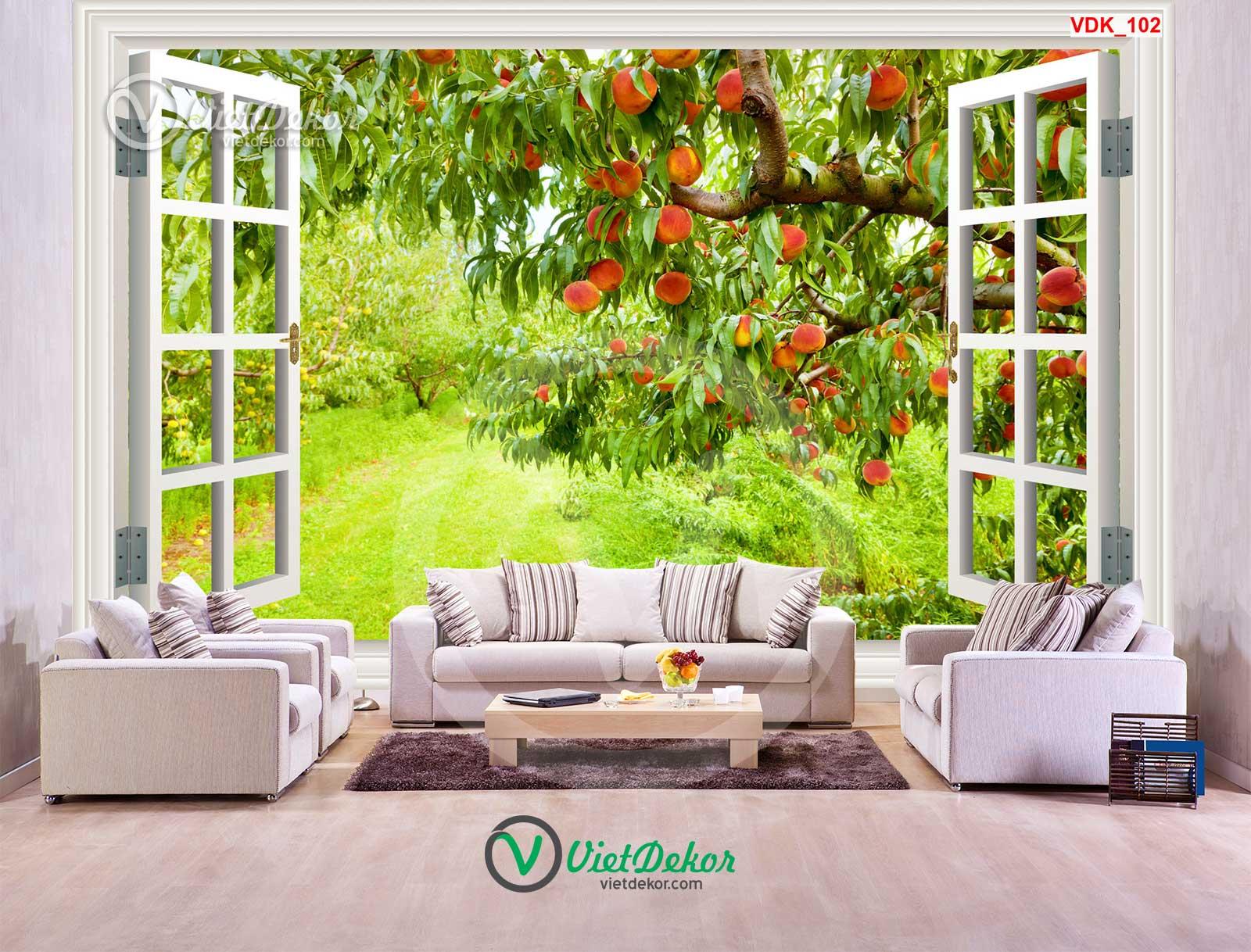 Tranh dán tường 3d cửa sổ rừng trái cây đẹp
