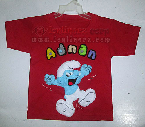 Kaos / Baju Flanel Anak Karakter Kartun Smurf