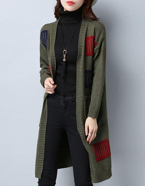 Patchwork Long Elegant Color Block Long Sleeve Knit Cardigan