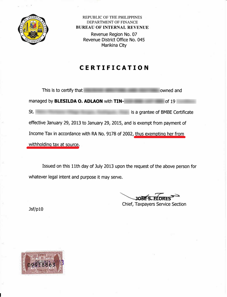 Employment Certificate Sample Philippines Image Gallery Hcpr