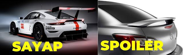perbedaan spoiler dan sayap pada mobil