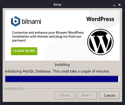 Bitnami LInux WordPress Stack 5.3.2-2 Setup インストール中画面