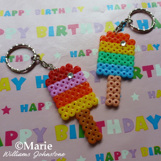 Perler bead rainbow popsicle keychain key ring designs craft by CraftyMarie