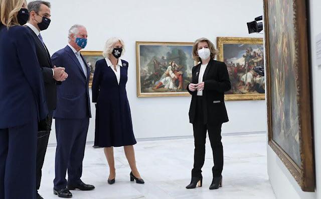 Prince Charles, Duchess of Cornwal, Prime Minister Kyriakos Mitsotakis, Mareva Grabowski and President Katerina Sakellaropoulou