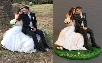 Statuette idea regalo anniversario i migliori cake topper statuette realistiche sposi seduti orme magiche