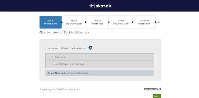 SKAT -sivuston ensimmäinen sivu - Osinkojen lähdeveron takaisinperintä