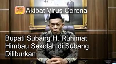 Akibat Virus Corona, Bupati Subang Himbau Sekolah Diliburkan 2 Minggu