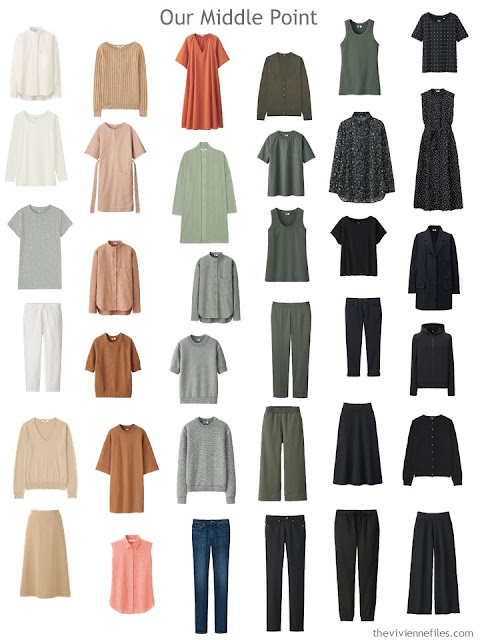 a 36-piece all-season wardrobe in ivory, camel, rust, olive and black