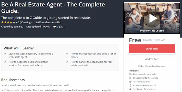 [100% Off] Be A Real Estate Agent - The Complete Guide| Worth 74,99$