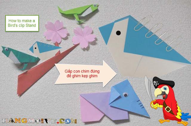 Cách gấp, xếp con chim biết dứng dùng làm kẹp ghim bằng giấy origami - How to make a Bird's Stand