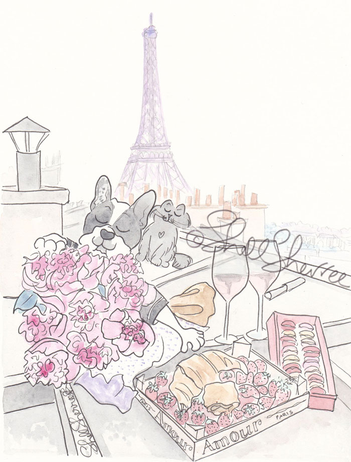 Rooftop Picnic in Paris with Eiffel Tower View french bulldog & cat illustration  © Shell Sherree all rights reserved